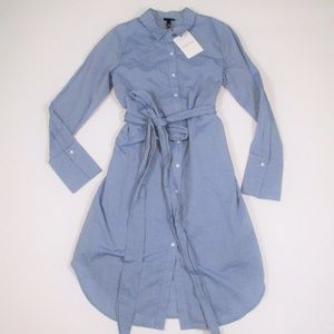 New Who What Wear M Chambray Shirt Dress Tie Waist
